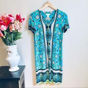 NWT LONDON TIMES Aqua Polka Dot Midi Length Dress